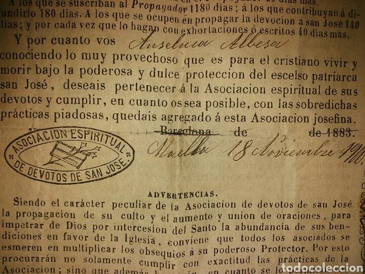 Documentos antiguos: Cédula de afiliación a la Asociación espiritual de devotos GLORIOSO PATRIARCA SAN JOSE Barcelona - Foto 7 - 62483746