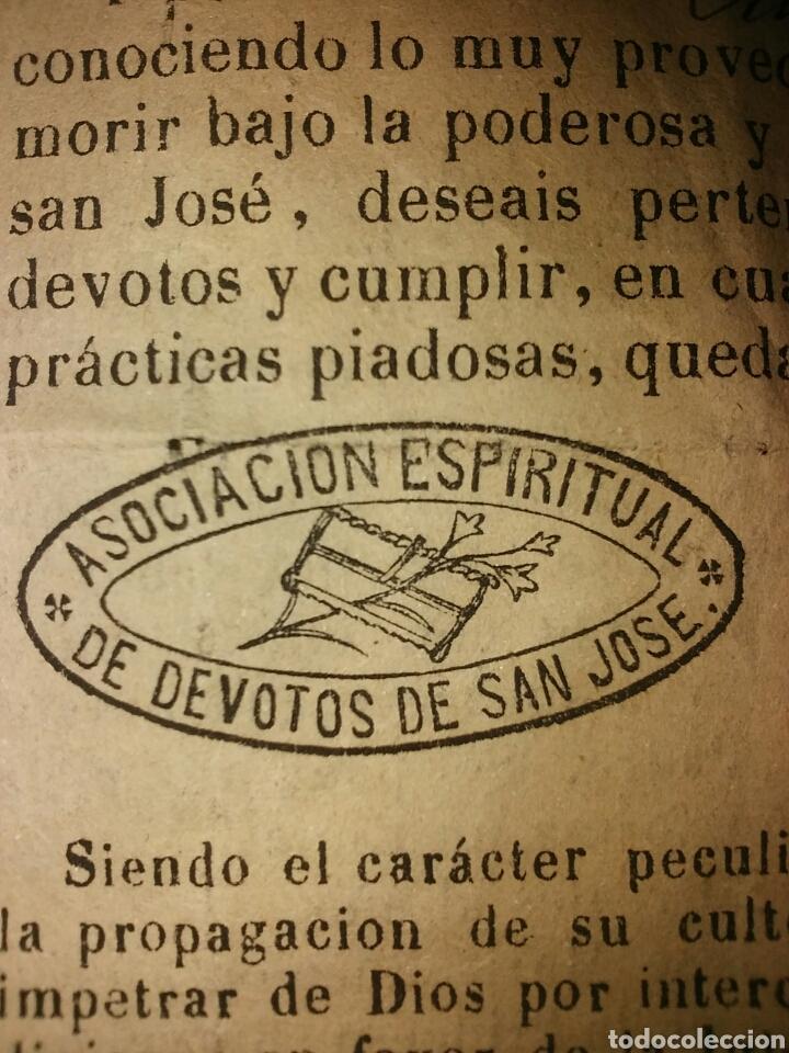 Documentos antiguos: Cédula de afiliación a la Asociación espiritual de devotos GLORIOSO PATRIARCA SAN JOSE Barcelona - Foto 8 - 62483746