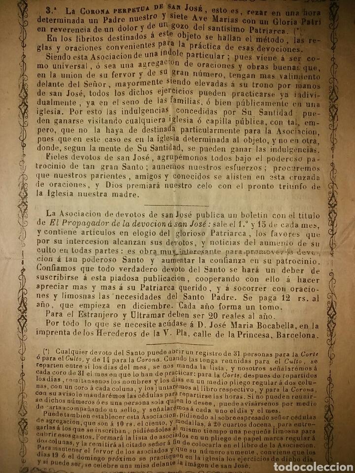 Documentos antiguos: Cédula de afiliación a la Asociación espiritual de devotos GLORIOSO PATRIARCA SAN JOSE Barcelona - Foto 10 - 62483746