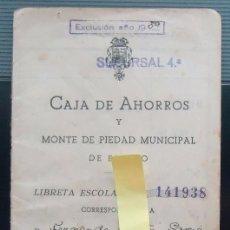 Documentos antiguos: CARTILLA BANCO LIBRETA ESCOLAR CAJA AHORROS MONTE PIEDAD BILBAO VIZCAYA EUSKADI ESCUELA COLEGIO 1943. Lote 62497060