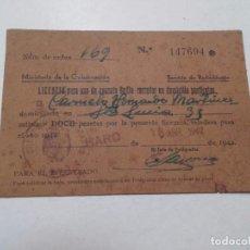 Documentos antiguos: LICENCIA APARATO RADIO-RECEPTOR EN, HARO, LA RIOJA, 1942 MINISTERIO DE LA GOBERNACION.. Lote 62596352