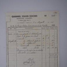 Documentos antiguos: FACTURA ORIGINAL DE 1945 DE MAESTRO ALBAÑIL GABRIEL SOLER SOCIAS (MALLORCA) FIRMADA. Lote 62655940