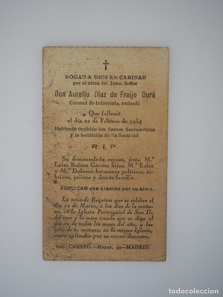 Documentos antiguos: ESTAMPITA MUERTE CORONEL INFANTERIA AURELIO DIAZ DE FREIJO DURÁ, 1954 - Foto 2 - 62658144