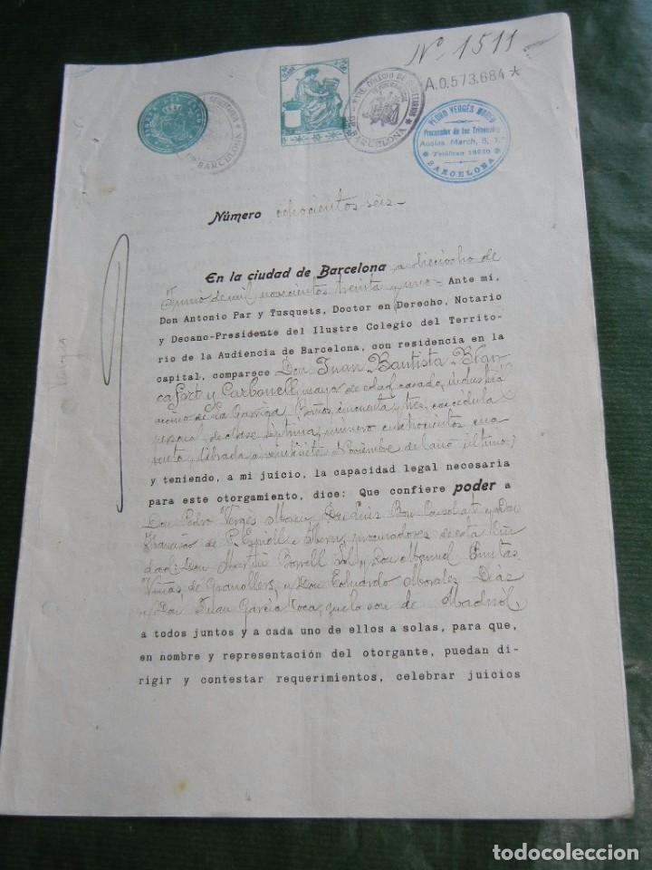 DOCUMENTO PODER NOTARIA ANTONIO PAR Y TUSQUETS, BARCELONA 1931 (Coleccionismo - Documentos - Otros documentos)