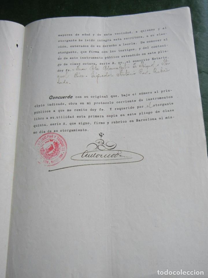 Documentos antiguos: DOCUMENTO PODER NOTARIA ANTONIO PAR Y TUSQUETS, BARCELONA 1931 - Foto 2 - 62676764