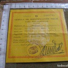 Documentos antiguos: CEDULA DE IDENTIFICACION FISCAL PARA MOTOCICLETAS - MOTO SADRIAN 1966. Lote 62801908