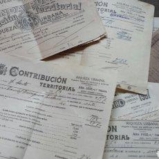Documentos antiguos: HACIENDA PÚBLICA- RIQUEZA URBANA. CONTRIBUCIÓN TERRITORIAL- LOTE DE 1930 A 57- NOVELDA ( ALICANTE). Lote 62982735
