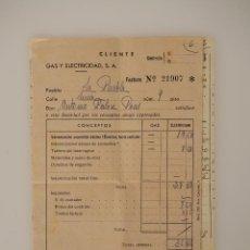 Documentos antiguos: FACTURA ORIGINAL 1939 GAS Y ELECTRICIDAD SA, CUÑO Y FIRMA (MALLORCA) +ALBARAN SELLADO. Lote 63131100