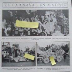 Documentos antiguos: EL CARNAVAL MADRILEÑO MADRID CARROZAS COCHES TEATRO REAL DISFRAZ FIESTA PAGANA ROMA EGIPTO. Lote 63463836