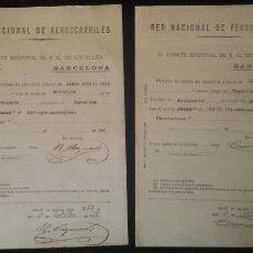 Documentos antiguos: LOTE DOCUMENTOS RENFE O METRO BARCELONA GUERRA CIVIL. BANDO REPUBLICANO. REPÚBLICA. CNT. FALANGE. JS. Lote 63528718
