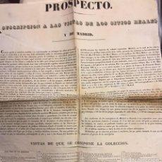 Documentos antiguos: PROSPECTO. SUSCRIPCION A LAS VISTAS DE LOS SITIOS REALES Y DE MADRID. 1835. Lote 63794491