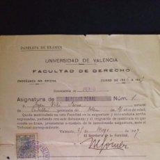 Documentos antiguos: PAPELETA DE EXAMEN UNIVERSIDAD DE VALENCIA FACULTAD DE DERECHO PENAL 1927. Lote 63990871