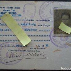 Documentos antiguos: CARNET IDENTIDAD SANIDAD MILITAR SEGUNDA REGION SOLDADO ALFEREZ SEVILLA GUERRA CIVIL ESPAÑOLA FRANCO. Lote 64565059