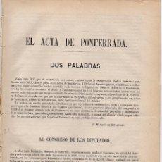 Documentos antiguos: CARTA DEL MARQUÉS DE RETORTILLO DENUNCIANDO UN GRAVE FRAUDE ELECTORAL (PONFERRADA, LEÓN, 1881).. Lote 64646131