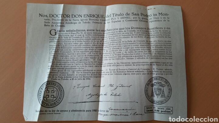 DOCUMENTO INDULTO BULA AYUNO Y ABSTINENCIA 1955 ARZOBISPO TOLEDO (Coleccionismo - Documentos - Otros documentos)