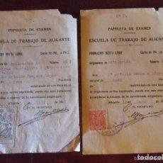 Documentos antiguos: LOTE 2 PAPELETAS DE EXAMEN DE LA ESCUELA DE TRABAJO DE ALICANTE 1940. Lote 64854171