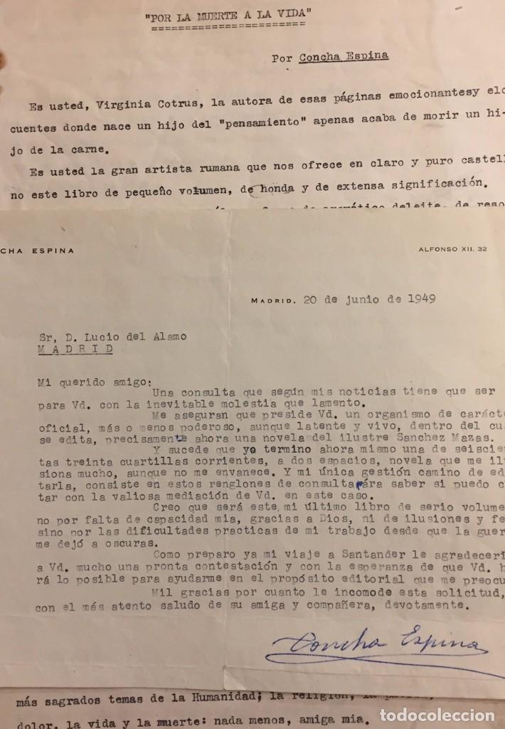 CONCHA ESPINA. 1949. CARTA Y COMENTARIO (Coleccionismo - Documentos - Otros documentos)