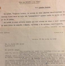 Documentos antiguos: CONCHA ESPINA. 1949. CARTA Y COMENTARIO. Lote 64972103
