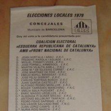 Documenti antichi: (ALB-TC-4) PAPELETA ELECCIONES LOCALES 1979 CONCEJALES ESQUERRA REPUBLICANA DE CAT. FRONT NACIONAL. Lote 65431003
