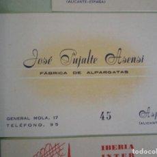 Documentos antiguos: ASPE (ALICANTE). TARJETA COMERCIAL JOSE PUJALTE ASENSI FABRICA DE ALPARGATAS. Lote 65911978