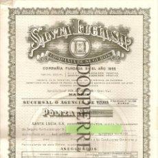 Documentos antiguos: POLIZA SEGURO PARTICULAR + SEGURO ACCIDENTE, SANTA LUCIA-SEGUROS, 1957. Lote 66120538