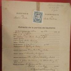 Documentos antiguos: EXTRACTO DE LA PARTIDA DE BAUTISMO, SELLO SIN VALOR POSTAL. PARROQUIA SANTA BÁRBARA.. Lote 66235666