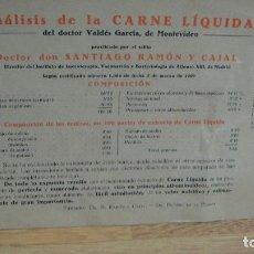 Documentos antigos: ANALISIS DE LA CARNE LIQUIDA PRACTICADO POR SANTIAGO RAMON Y CAJAL. Lote 66243326