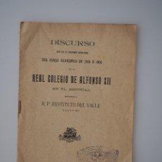 Documentos antiguos: DISCURSO APERTURA CURSO 1904-1905 REAL COLEGIO ALFONSO XII ESCORIAL, RESTITUTO DEL VALLE, 1904. Lote 66297258