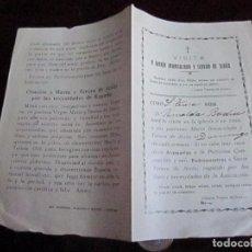 Documentos antiguos: VISITA A MARIA INMACUADA Y TERESA DE JESUS, IMPRENTA ALGUERO Y BAIGES TORTOSA. Lote 66755574