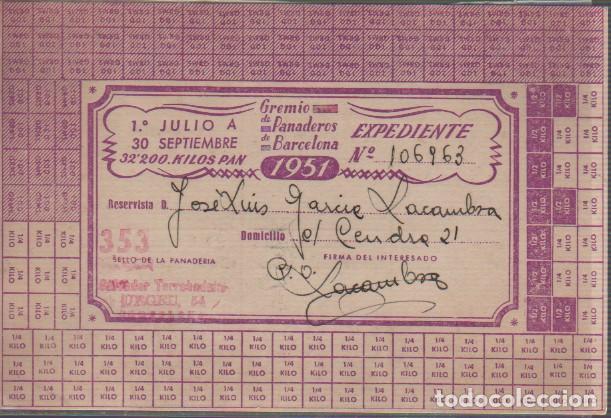 VALE DEL GREMIO DE PANADEROS DE BARCELONA 1951 RACIONAMIENTO (Coleccionismo - Documentos - Otros documentos)