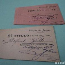 Documentos antiguos: CASINO DEL BOSQUE, GRACIA BARCELONA NOVIEMBRE 1909. FEBRERO 1910 TITULO A FAVOR DE.... Lote 66923034