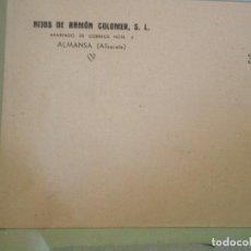 Documentos antiguos: ALMANSA (ALBACETE) SOBRE COMERCIAL HIJOS DE RAMON COLOMER. Lote 66937730