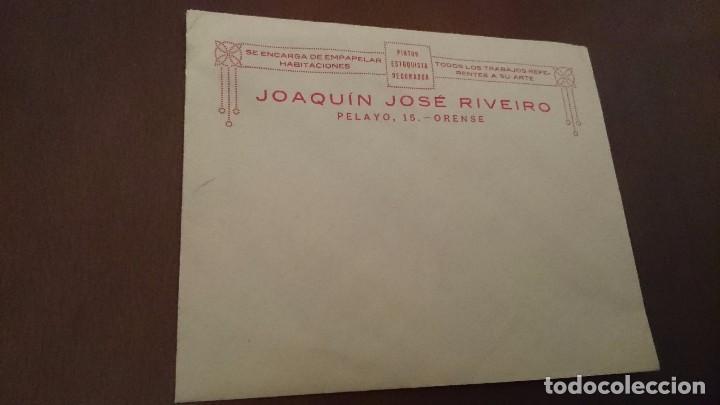 SOBRE PUBLICIDAD JOAQUÍN JOSÉ RIVEIRO - PINTOR ESTUQUISTA DECORADOR - PELAYO 15 ORENSE OURENSE (Coleccionismo - Documentos - Otros documentos)