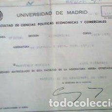 Documentos antiguos: PAPELETA NOTAS UNIVERSIDAD MADRID 1969 - DERECHO MERCANTIL. Lote 66973894