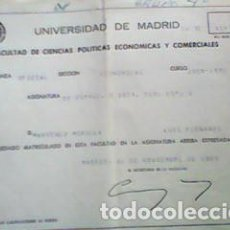Documentos antiguos: PAPELETA NOTAS UNIVERSIDAD MADRID 1971 - DERECHO ADMINISTRATIVO. Lote 66973914