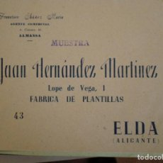Documentos antiguos: ELDA (ALICANTE). SOBRE COMERCIAL JUAN HERNANDEZ MARTINEZ FABRICA PLANTILLAS. AGENTE FRANCISCO IBAÑEZ. Lote 67030262