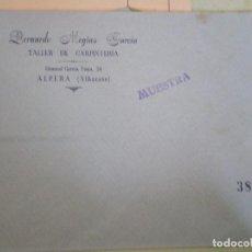 Documentos antiguos: ALPERA (ALBACETE). SOBRE COMERCIAL BERNARDO MEGIAS GARCIA. TALLER DE CARPINTERIA. Lote 67030730