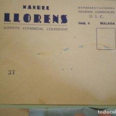 Documentos antiguos: MALAGA. SOBRE COMERCIAL MANUEL LLORENS. AGENTE COMERCIAL COLEGIADO. Lote 67030998