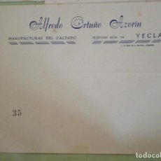 Documentos antiguos: YECLA (MURCIA). SOBRE COMERCIAL ALFEDRO ORTUÑO AZORIN. MANUFACTURAS DEL CALZADO. Lote 67031462