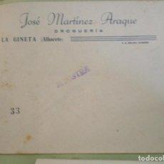 Documentos antiguos: LA GINETA (ALBACETE). SOBRE COMERCIAL JOSE MARTINEZ ARAQUE. DROGUERIA. Lote 67031762