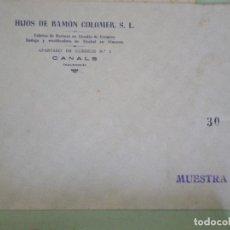 Documentos antiguos: CANALS (VALENCIA). SOBRE COMERCIAL JHIJOS DE RAMON COLOMER. FABRICA DE HARINAS ALCUDIA DE CRESPINS.. Lote 67033826
