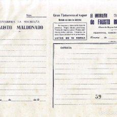 Documentos antiguos: ALMANSA (ALBACETE). RECIBO TINTORERIA A VAPOR LA MADRILEÑA. FAUSTO MALDONADO. Lote 67046846