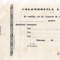 Documentos antiguos: ALMANSA (ALBACETE). RECIBO COLOMBOFILA ALMANSEÑA. Lote 67047066