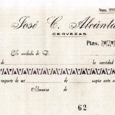 Documentos antiguos: ALMANSA (ALBACETE). RECIBO JOSE C. ALCANTARA. CERVEZAS. Lote 67047286