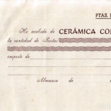 Documentos antiguos: ALMANSA (ALBACETE). RECIBO CERAMICA COLLADO. Lote 67047406