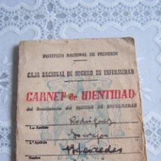 Documentos antiguos: CARNET DE IDENTIDAD SEGURO DE ENFERMEDAD, SEVILLA, AÑO 1945.. Lote 67089653