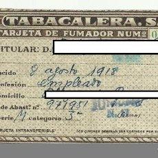 Documentos antiguos: TARJETA DE FUMADOR   DOCUMENTO OFICIAL AÑOS 50´ *INCREÍBLE VINTAGE*. Lote 67220781