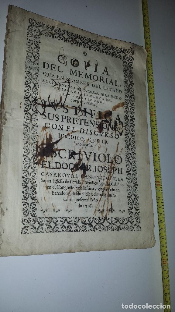 Documentos antiguos: COPIA MEMORIAL DE JOSEPH CASANOVAS 1716 - Foto 2 - 67337105