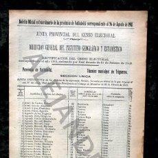 Documentos antiguos: TRIGUEROS - VALLADOLID - 1911 - CENSO DEL TÉRMINO MUNICIPAL . Lote 67568461