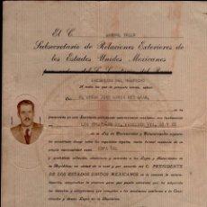 Documentos antiguos: L20-11 CARTA DE NATURALIZACION MEXICANA - DOCUMENTO DE RENUNCIA DE LA NACIONALIDAD ESPAÑOLA PARA LA. Lote 67658733